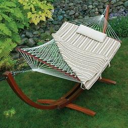 Belham Living 11 ft. Cotton Rope Hammock with Wood Stand, Pi