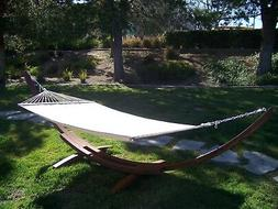 14' Brown Stain Wooden Arc Hammock Stand + Quilted Beige Col