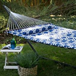 2-Person Blue White Quilted Hammock 13-ft Heavy Duty Black M