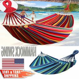 2 Person Double Camping Hammock Chair Bed Outdoor Hanging Sw