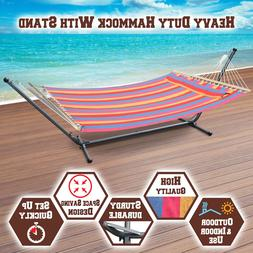 2 Person Multi-color Quilted Double Hammock Bed w Stand Spre