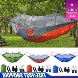 2 Person Outdoor Travel Double Hanging Bed Camping Hammock T