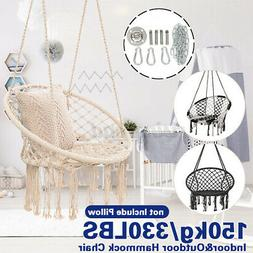 330lbs Hammock Chair Swing Seat Hanging Round Cotton Rope In