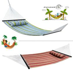 55'' Heavy Duty Quilted Fabric Double Hammock With Pillow Sp