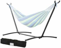 9' Double Hammock Stand Outdoor Patio Portable With Carry Ca
