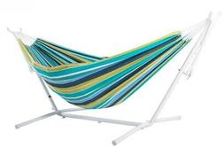 Vivere 9 ft. Cotton Double Hammock with Stand in White and C