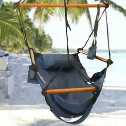 Air Deluxe Hammock Hanging Chair with Pillow and Drink Solid