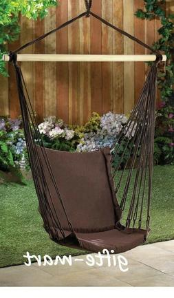 brown cotton padded swing hammock hanging outdoor