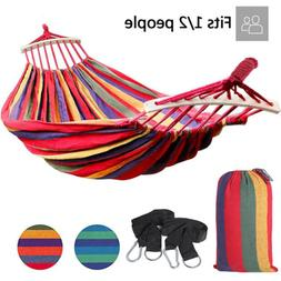 Camping Hammock Canvas Cotton Rope Double Single Patio Hikin