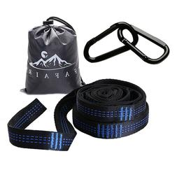 Camping Hammock Tree Straps Set with 2 Carabiners Heavy Duty