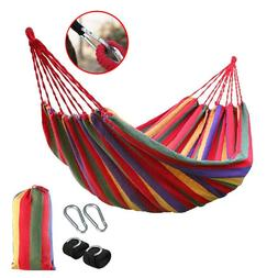 Canvas Fabric Camping Hammock Cotton Rope Hanging Swing Bed