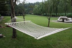 """59"""" Cotton Hammock Double Wide with Solid Wood Spreaders 2 P"""