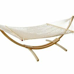 "Budge Cotton Rope Outdoor Hammock, 55"" x 156"", Bright White"