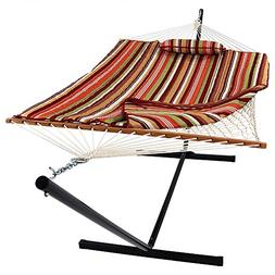 Sunnydaze Cotton Rope Hammock with 12 Foot Portable Steel St