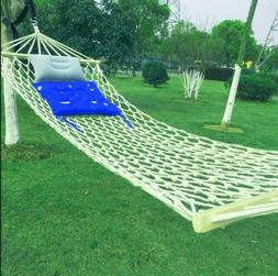 Cotton Rope Hammock Hanging Bed with Spreader Bar for Outdoo