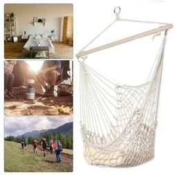 Hammock Chair Swing Hanging Cotton Rope Seat Net Cradles Out