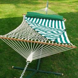 13' Cotton Rope Hammock with Hanging Hardware, Green and Whi