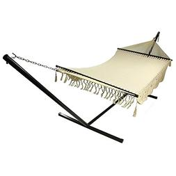 Sunnydaze DeLuxe American Style 2 Person Hammock with Spread