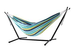 Vivere Double Cotton Combo Hammock with Stand, Cayo Reef
