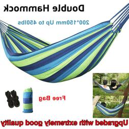 2 Person Cotton Rope Camping Hanging Hammock Swing Canvas Be