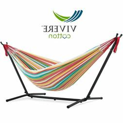 Vivere Double Cotton Hammock with Space Saving Steel Stand,