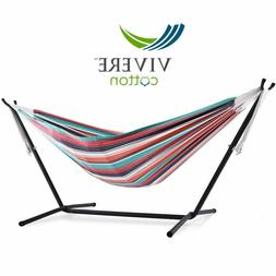 Vivere Double Cotton Hammock with Space Saving Steel Stand 4