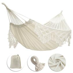 Double Hammock Fringed Macrame Rope Hanging Swing Chair Outd