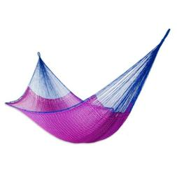 Double Hammock Hand Crafted 100% Nylon 'Berry Blossom' Pink