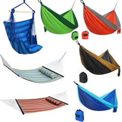 Double Hammock Hanging Rope Chair Lounger Porch Swing Seat H