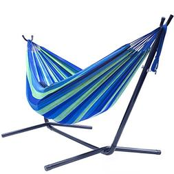 Sorbus Double Hammock with Space-Saving Steel Stand, Tropica