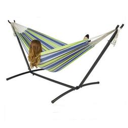 Double Hammock With Space Saving Steel Stand and Portable Ca
