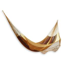 Double Hammock Rope Style Brown Handmade Crocheted Lace w/Ta