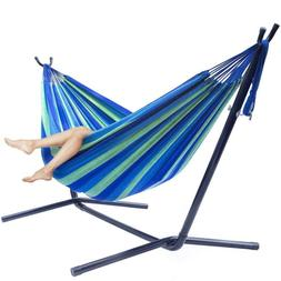Double Hammock Set With Steel Stand Carrying Case Two Person