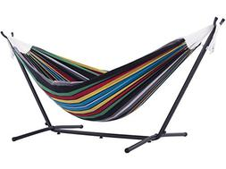 9' Double Hammock with Stand by Vivere Ltd, Cotton - Rio Nig