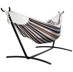Double Hammock w/ Space Saving Steel Stand & Portable Case-D