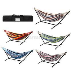 Double Hammock with Space Saving Portable Steel Stand Outdoo
