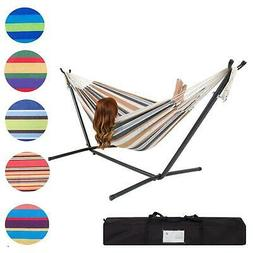 Double Hammock With Space Saving Steel Stand Includes Carryi