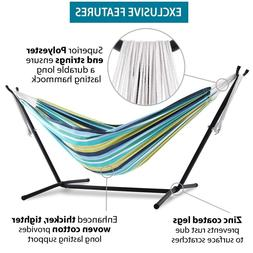 Vivere Double Hammock with Space Saving Steel Stand, Desert
