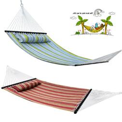 Quilted Fabric Double Hammock Heavy Duty With Pillow Spreade