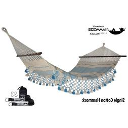 Double Hammock with Wooden Spreader Bars-Hanging Strap-Carry