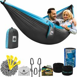 Double Parachute Camping Hammock Two Person Portable Kit wit