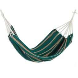 Green Hand Crafted Double Striped Fabric Hammock 'Happy Beac