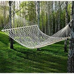 Hammock 59&quot Cotton Double Wide Solid Wood Spreader Outdo