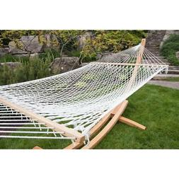 Hammock Bed 12.5 ft. Polyester Rope Weather Resistant in Whi