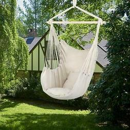 Hammock Chair Cotton Canvas Pillow Swing Hanging Rope Outdoo