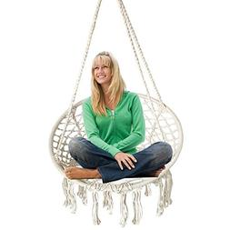 BHORMS Hammock Chair Macrame Swing for Any Indoor or Outdoor