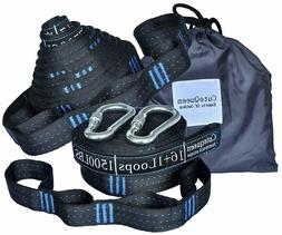 Hammock Tree Straps 2pcs Camping Hanging With Carabiners & B