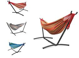 Double Hammock With Space Saving Steel Stand Patio W/ Portab