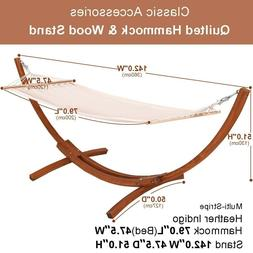 Hammock With Stand Wood Portable Curved Stand Wooden Frame B