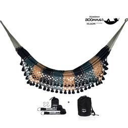 handmade Double Hammock with Hanging Strap Soft Woven Cotton